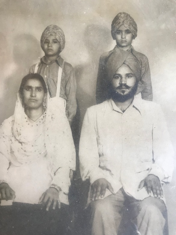 Front- Mohinder Kaur (Mother) and Ranjit Singh (Father); Back - Sukhbir (Left) and Harkirat (Right)